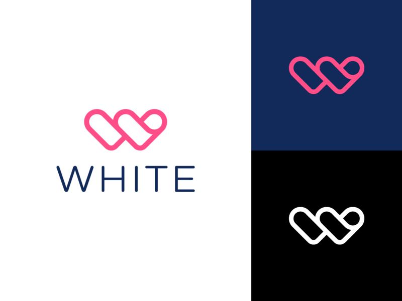 White heart doctor care love monogram w startup healthcare branding white logo
