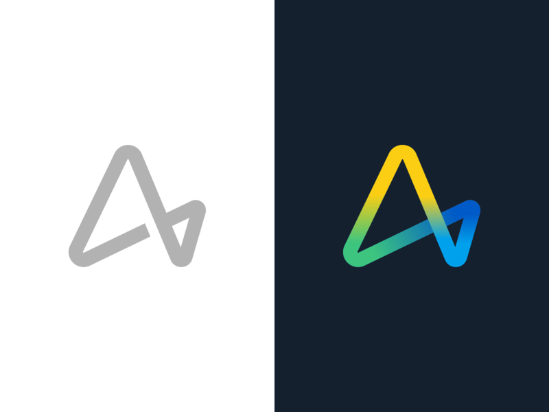 Infinite A data vibe startup app branding loop concept infinity logo monogram a