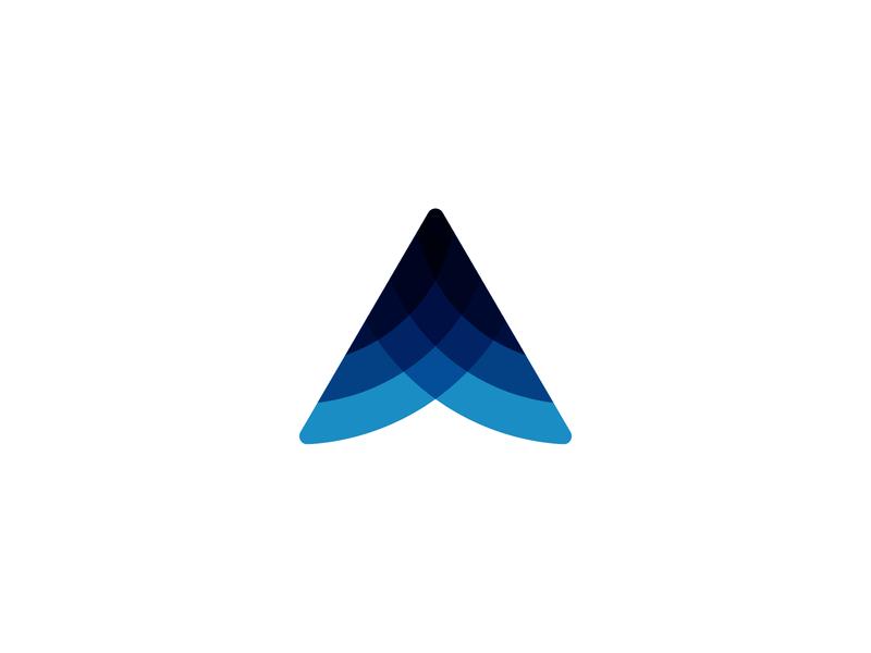 Arrow mark movement forward transparency layers branding logo a arrow