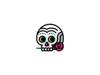 Dia Dos Muertos creepy cult mexican face rose logo skull