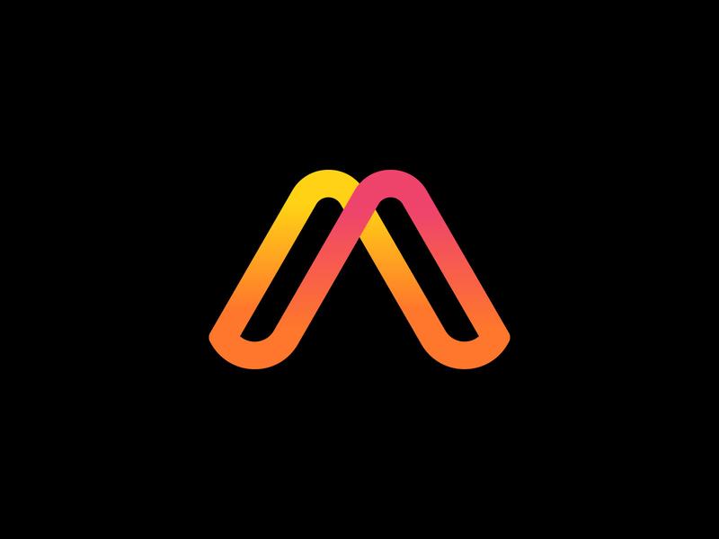 A monogram link tech connect data infinity loop branding a monogram logo
