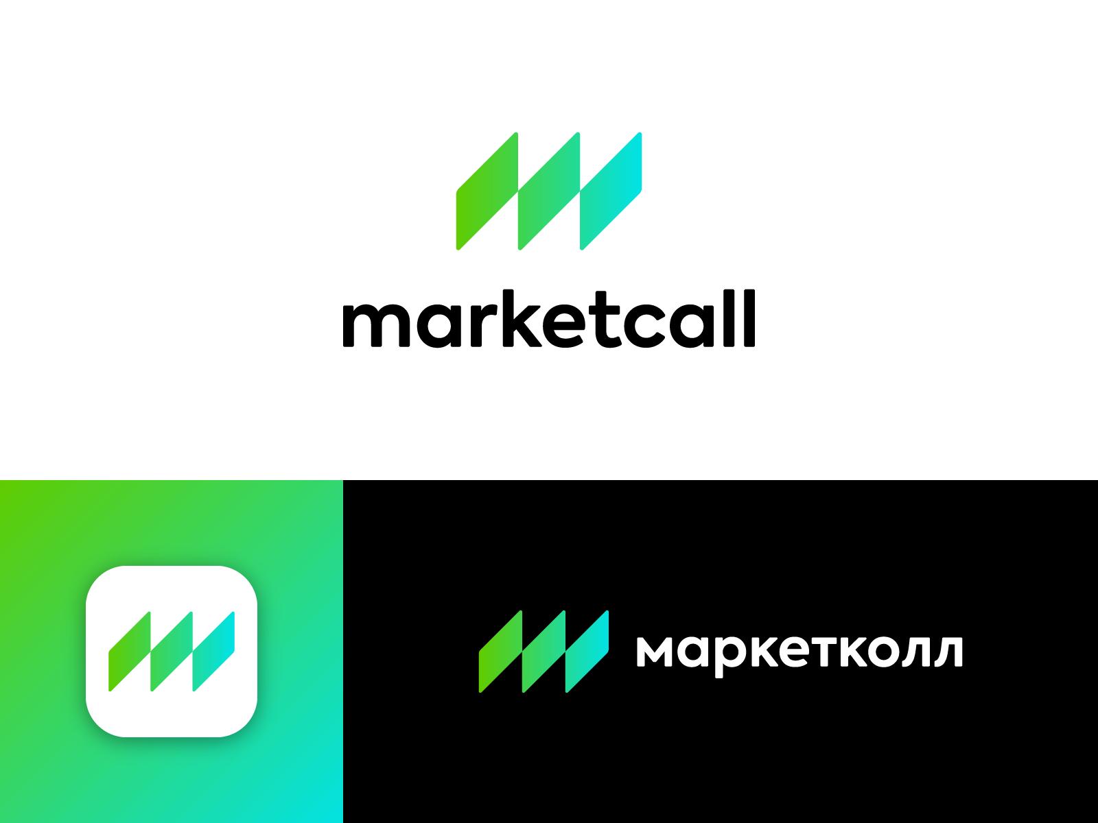 Marketcall message talk icon cyrillic connect call market branding logo m