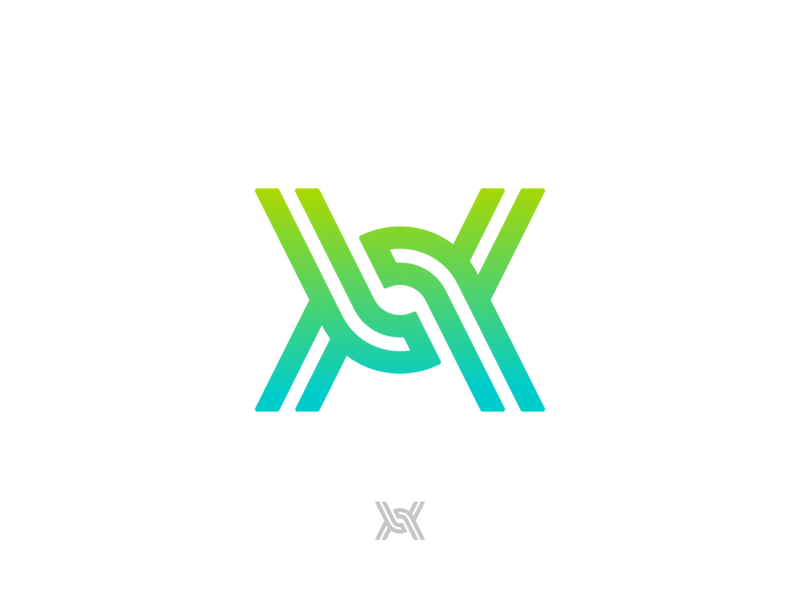 X chain Ambigram branding abstract secure connect a letter startup ambigram mark logo blockchain chain x