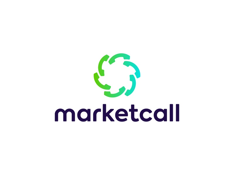 Marketcall logo branding sound voice call phone united cog grid construction geometry minimal
