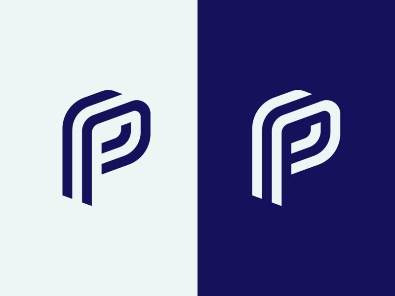 Pact Monogram lines perspective typography letter studio branding design logo monogram p