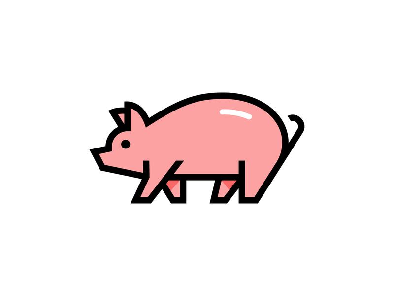 Piggi farm friendly cute food icon branding logo animal pig