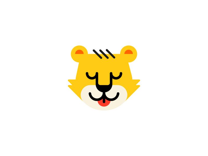 Leo sleep cute kids animal head lion leo branding brand logo