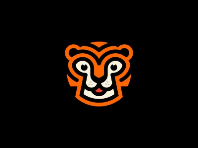 Tigerrr friendly animal kids face toons cute stripes head animal cat branding brand logo tiger