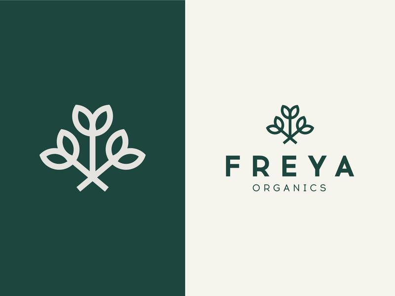 Freya Organics minimal flowers bouquet beauty branding brand herbal organic natural logo