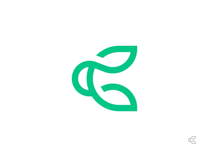 C/Leaf grow plant letter monogram logo mark leaf c