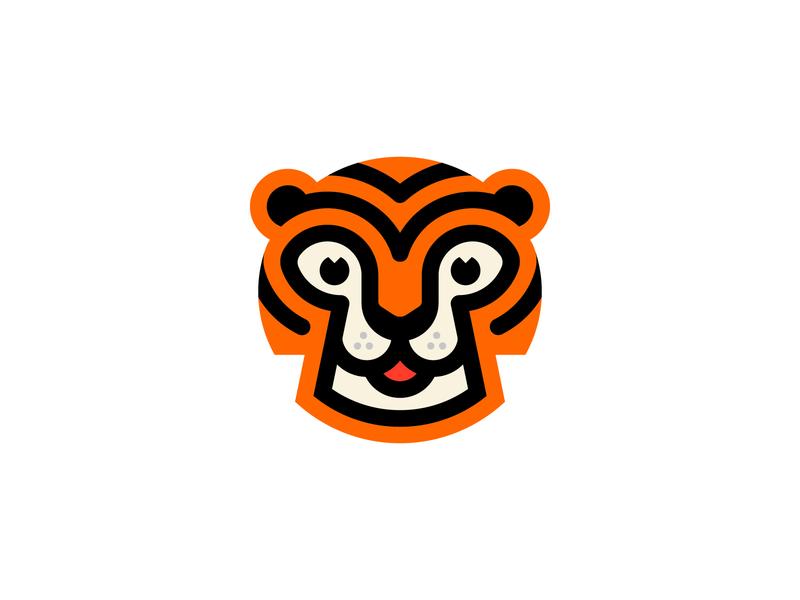 Tiger tiger logo brand branding cat animal head stripes cute toons friendly animal