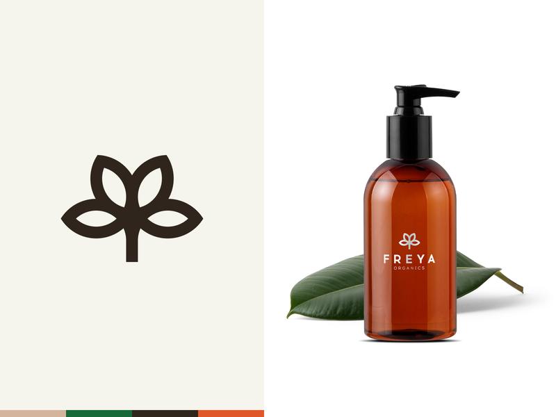 Freya Organics logo natural organic herbal brand branding beauty bouquet flowers minimal