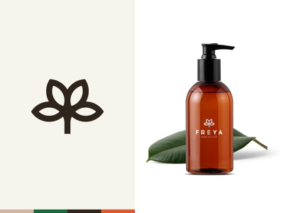 Freya Organics logo natural organic herbal brand branding beauty bouquet flowers minimal