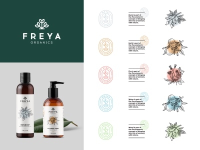 Freya Organics Branding logo natural organic herbal brand branding beauty flowers packaging illustrations badges