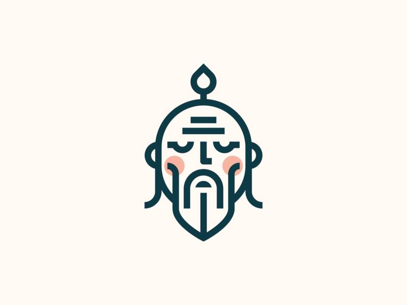 Sensei sensei logo branding head master teacher wise japan japanese minimal icon logo design face