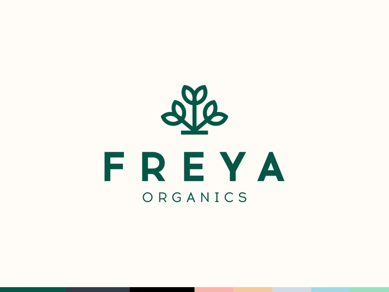 Freya Organics logo design brand branding organics natural cosmetic plant nature skincare herbal