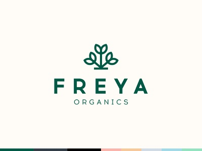 Freya Organics logo design brand branding organics natural cosmetic plant nature skincare herbal