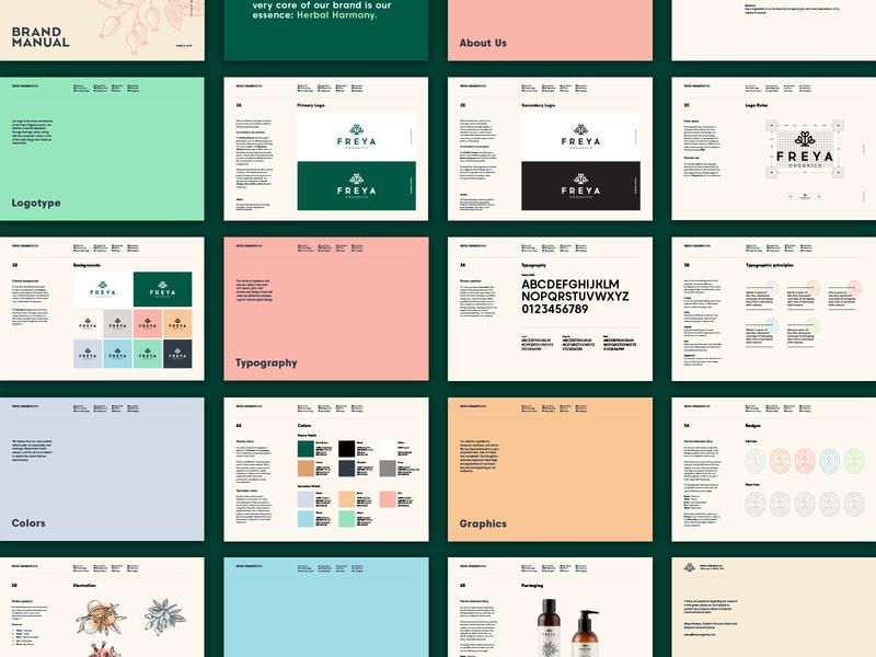 Freya Organics brand guidelines brandbook nature icon branding cosmetics identity minimal brand guidelines brand and identity guidelines manual logo brand