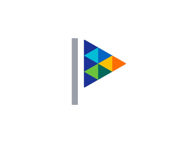 Festive Mark flag logo startup event happy geometric design joy celebrating branding logo fest flag