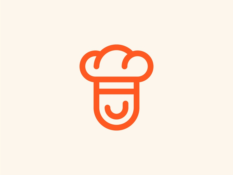 Cook tasty application startup happy smile culinary bread head minimal branding chef logo food cook