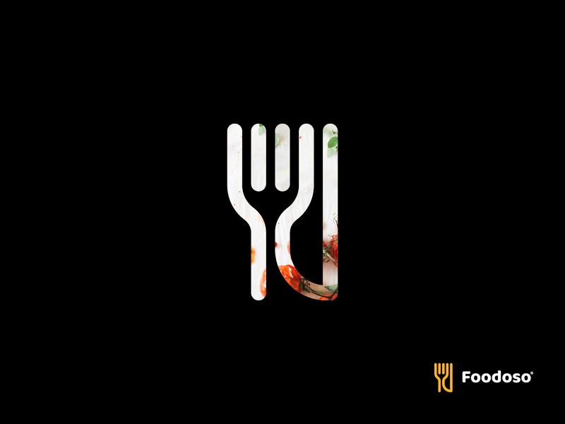 Foodoso negative space logo knife fork food logo branding minimal head culinary startup application tasty