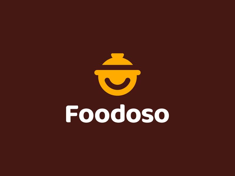 Foodoso traditional a saucepan smile tasty application startup culinary head minimal branding logo food negative space logo