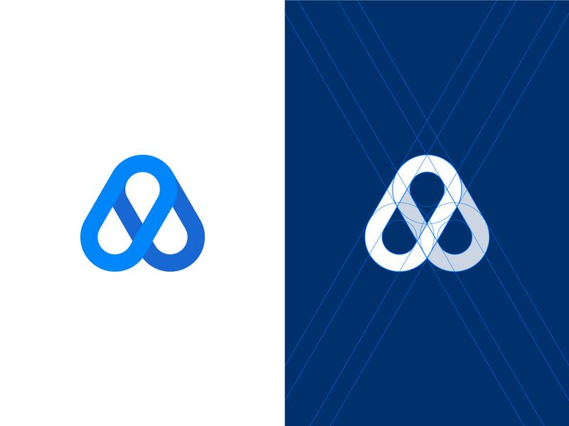 A monogram flat geometric minimalistic branding fintech startup letter logo minimal a