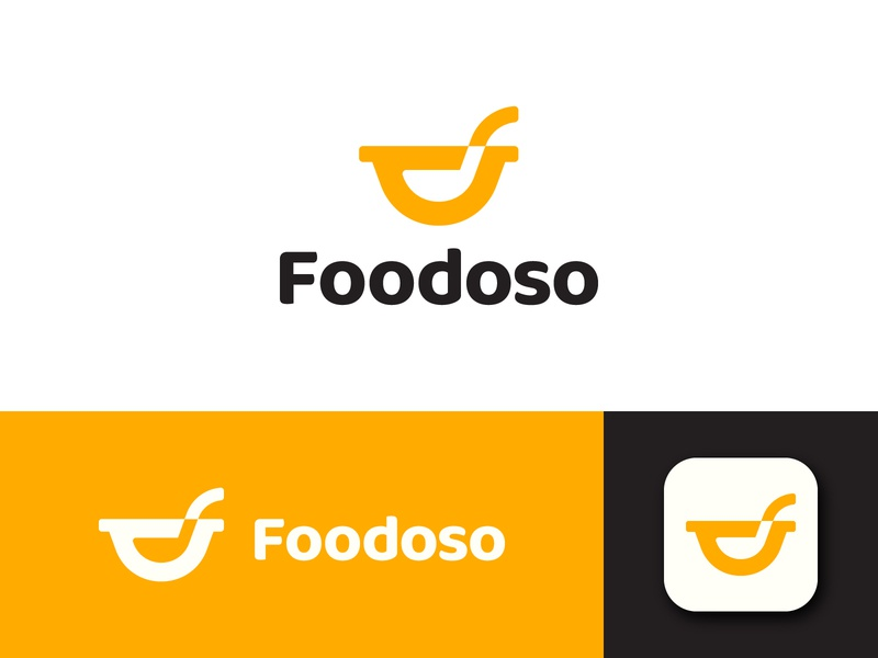 Foodoso brand tasty smile happy spoon startup application restaurant food branding logo