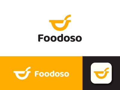 Foodoso brand tasty smile happy spoon startup application restaurant food branding logo