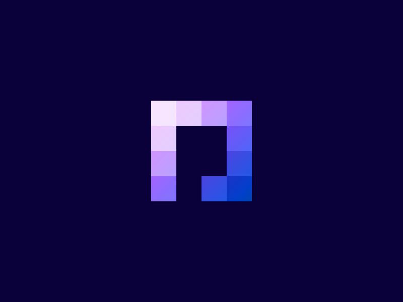Pixel minimal design fintech advertising startup pixels branding logo frame p