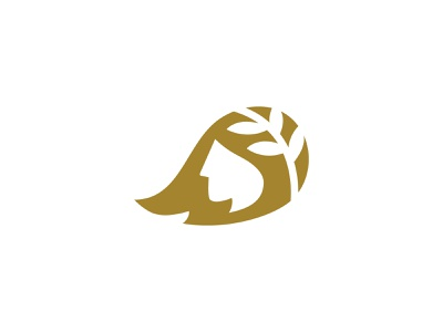 Golden Girl branch negative space logo hair leafs nature face head woman human symbol identity minimal design branding logo