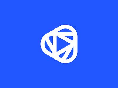 Play symbol dynamic flow minimal abstract design branding logo play