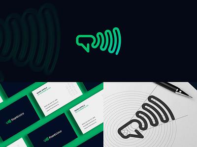 FrontVoice Branding logo construction grid brand identity identity startup employment voice sound smart megaphone wave signal branding logo