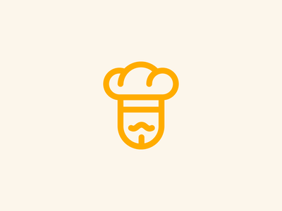Chef moustache bread hat cook chef logo branding food restaurant application startup tasty brand