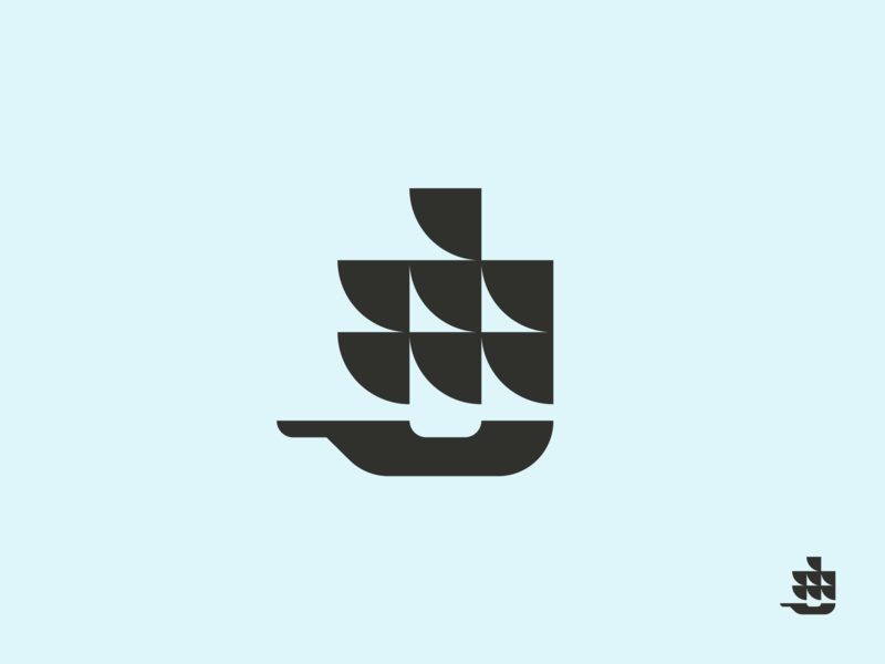Big boat minimal geometric explorer navigate brand design branding logo marine travel ship boat
