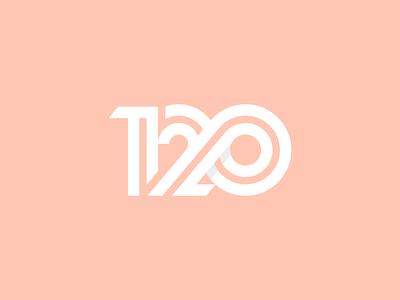 120 monogram icon stripes bond startup connection identity design branding logo numbers number 120