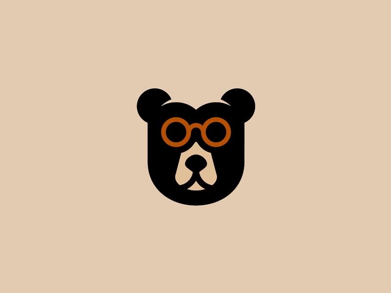Brillenbär face minimal shop startup animal branding brand berlin bear optics logo glass