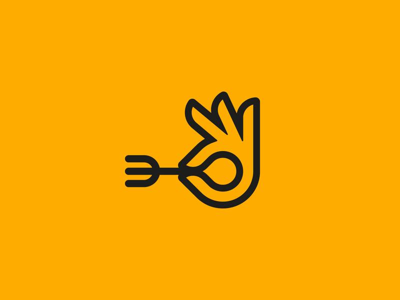 Gourmet tasty hand brand identity icon branding logo design culinary kitchen fork food logo gourmet