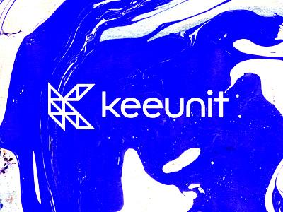Keeunit lettering k startup elearning teamwork minimal logo design key unit brand branding logo