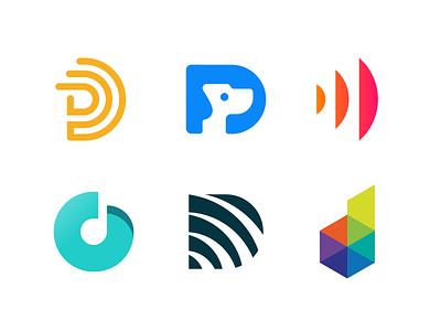 Logo Alphabet - D Lettermarks icon minimal wave dog branding design brand lettermark logotype d logo design logo