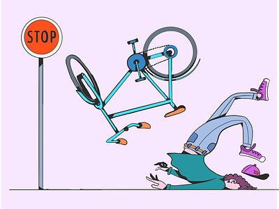 Bike crash crash bike illustration 2d sketch adobedraw