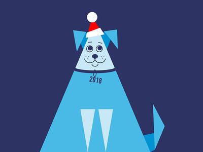 Dog 2018 mans best friend digital art 2018 new year 2018 triangle santa claus new year fun blue mini illustration dog design art vector minimalism illustration