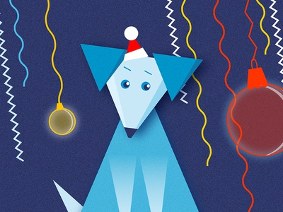 Dog NY 2018 illustration minimalism vector art design dog mini illustration blue fun new year santa claus triangle new year 2018 2018 digital art mans best friend