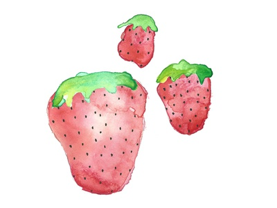 More strawberries! adobe photostop strawberries fruit ink illustration watercolor