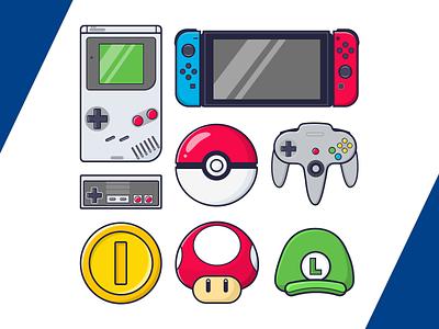 Nintendo Icons pokeball n64 nes switch gameboy luigi mario pokemon nintendo game vector sketch illustration icons icon design