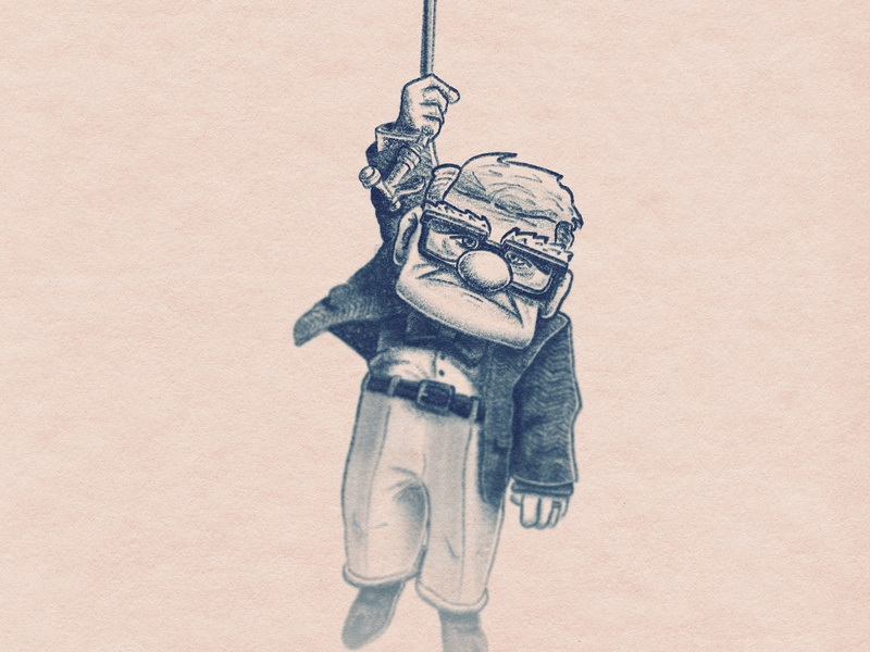 Carl from UP old man up pixar disney paper texture sketch hand made draw drawing illustration