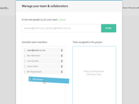 Team management popup