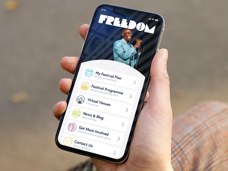 Freedom Festival App web app ux vector type concept ui grid layout design
