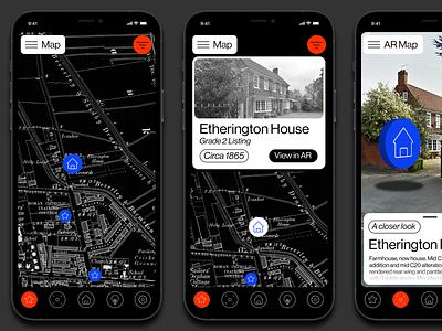 History AR application app design app type grid ui concept minimal