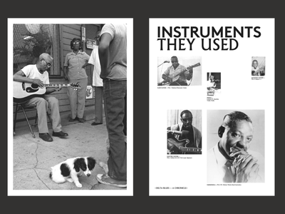 Mississippi Blues - A chronicle. Instruments logo illustration website poster type grid minimal layout design